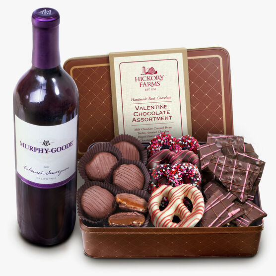 Valentine Chocolate Assortment With Wine