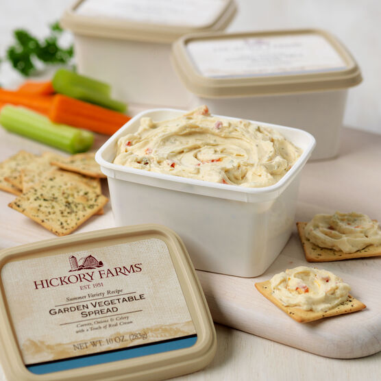 Garden Vegetable Cheese Spread 3 Pack <strong>Why it's loved:</strong><br />Loaded with crispy carrots, celery and onions, this flavorful vegetable spread gets its smoothness from cheese blended with a touch of real cream. If you love garden vegetables, you'll enjoy them even more in our creamy cheese spread.<br /> <br /> <strong>How to serve it:</strong><br />Enhance the flavor of the vegetables with our Olive Oil & Rosemary Crackers.<br /> <br /> <strong>Makes a great gift for:</strong><br /> Your vegetarian friends and cheese connoisseurs.