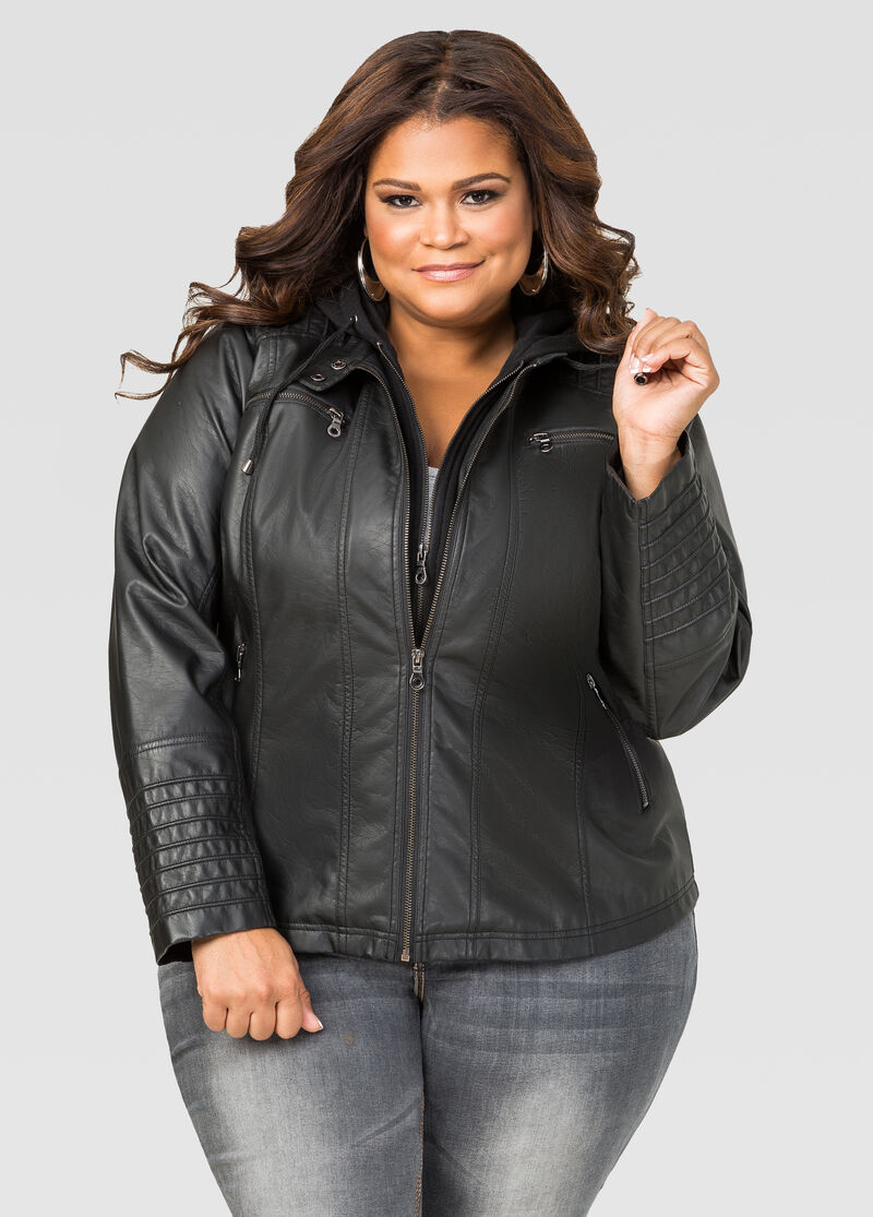 Leather jacket and hoodie - Hoodie Insert Faux Leather Jacket