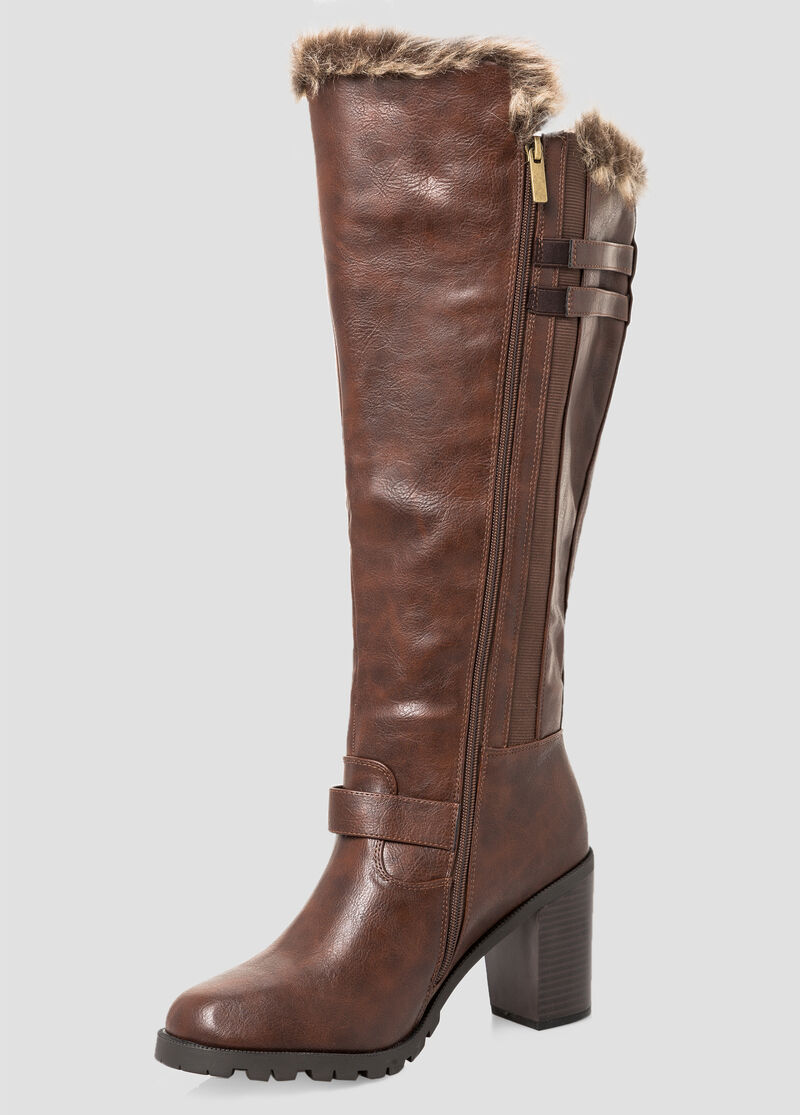 Buy Chunky Fur Lined Tall Boot - Wide Calf, Wide Width Brown - Shoes
