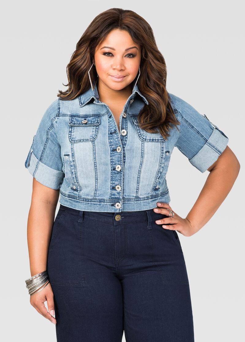 Cropped 3/4 Sleeve Jean Jacket-Plus Size Jeans-Ashley Stewart-034 ...