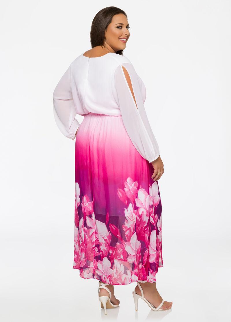 Plus Size Ombre Floral Chiffon Maxi Dress-010-613W-41461