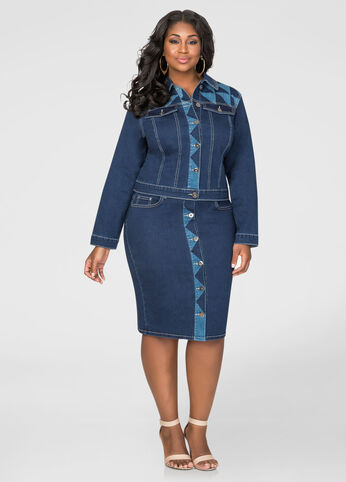 Geo Button Front Jean Skirt-Plus Size Skirt Sets-Ashley Stewart ...