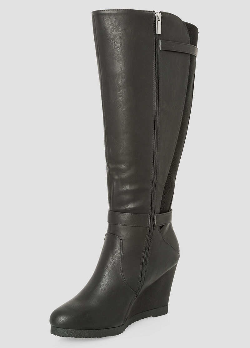 Plus Size Tall Wedge Boot - Wide Calf, Wide Width 068-ASH23114