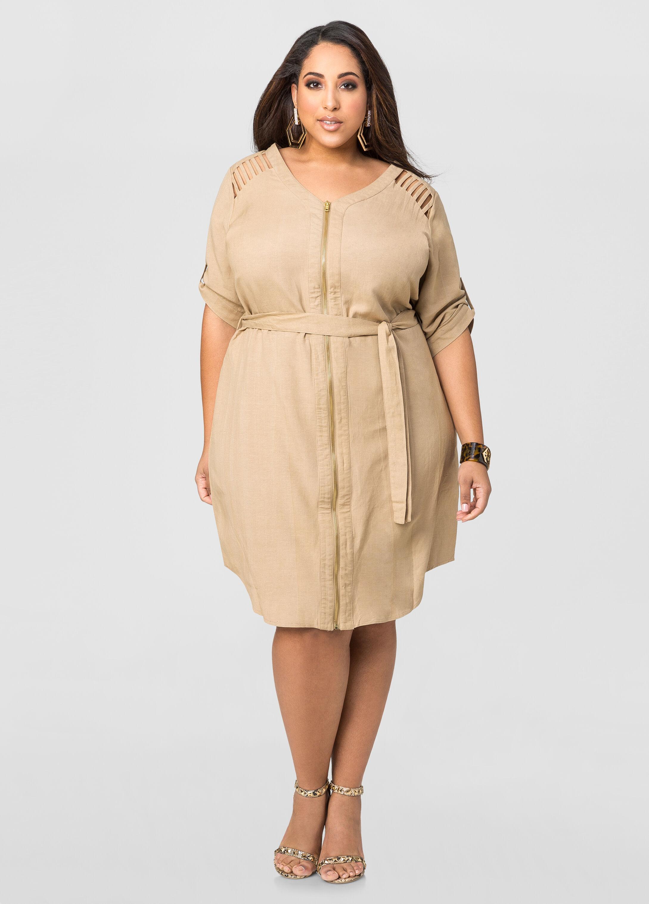 Caged Shoulder Linen Dress-Plus Size Dresses-Ashley Stewart-010 ...