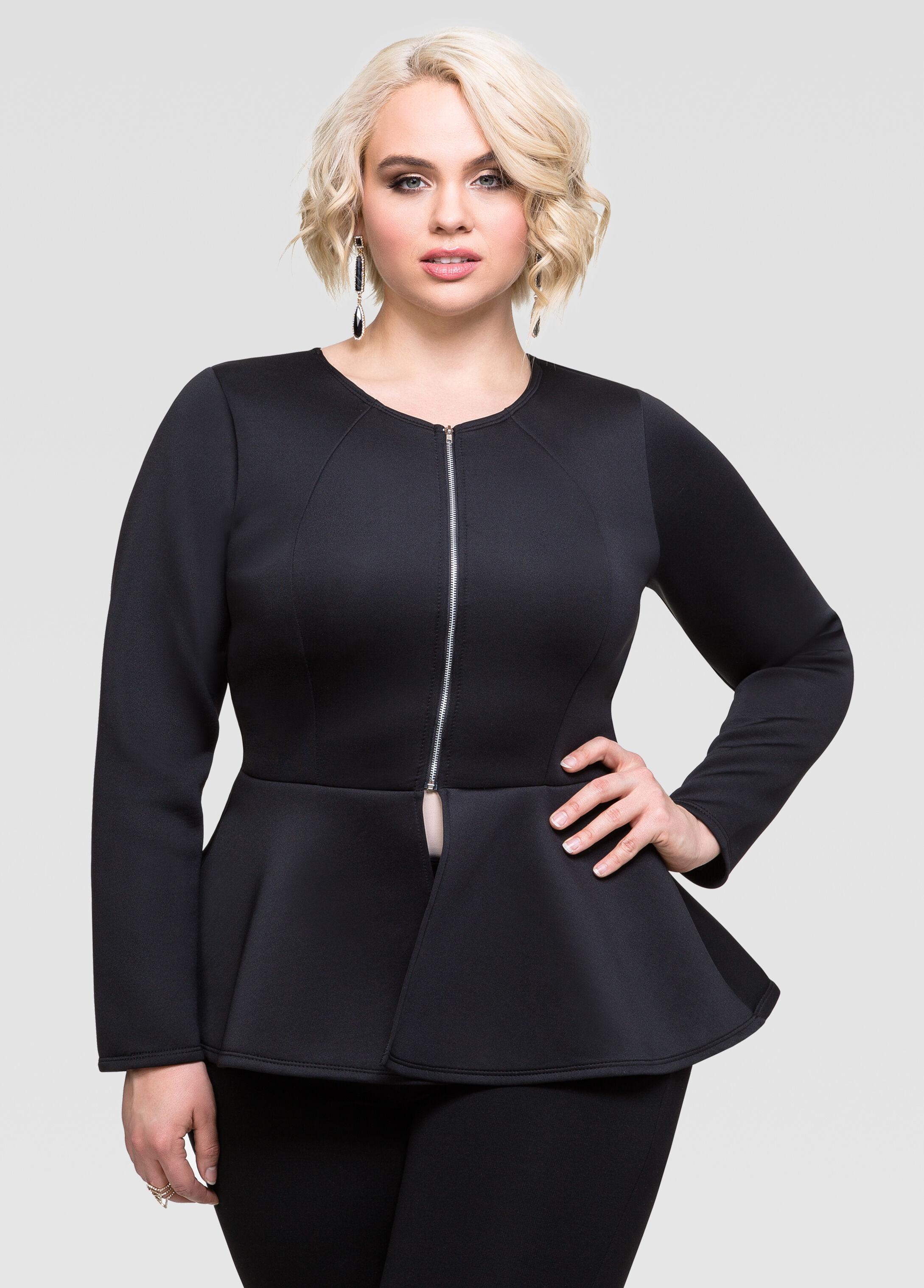 Neoprene Peplum Jacket-Plus Size Jackets-Ashley Stewart-027-FL4017X