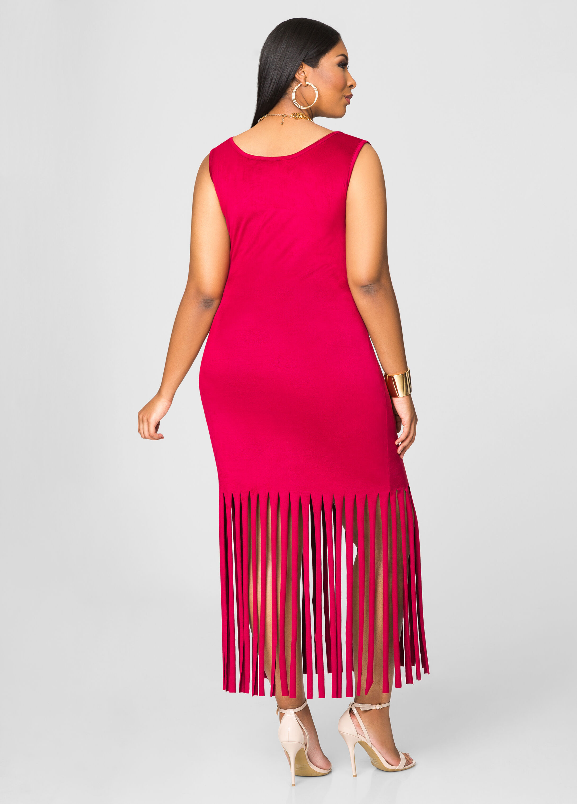 Micro Suede Fringe Hem Dress-Plus Size Dresses-Ashley Stewart