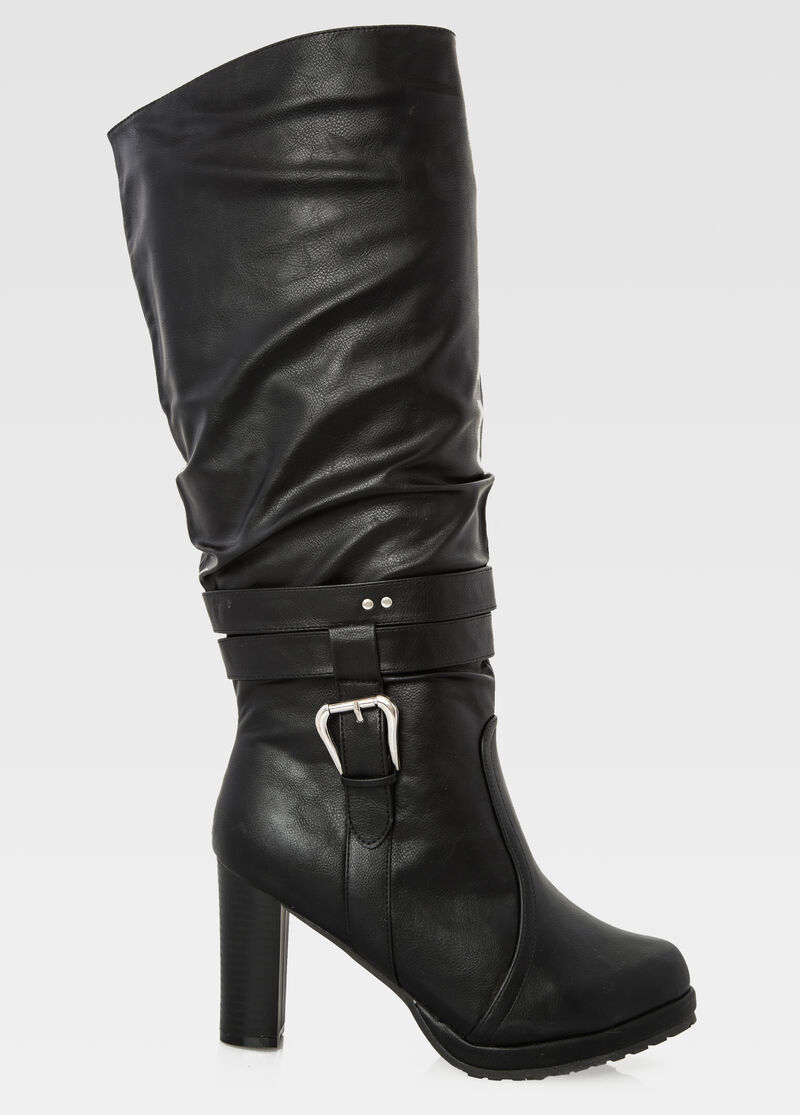 Wide Width Wide Calf Chunky Heel Tall Boot-Wide Width Boots-Ashley ...