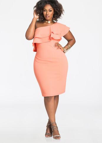 Plus Size Dresses - Double Ruffle One-Shoulder Dress