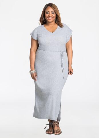 Solid V-Neck T-Shirt Maxi Dress
