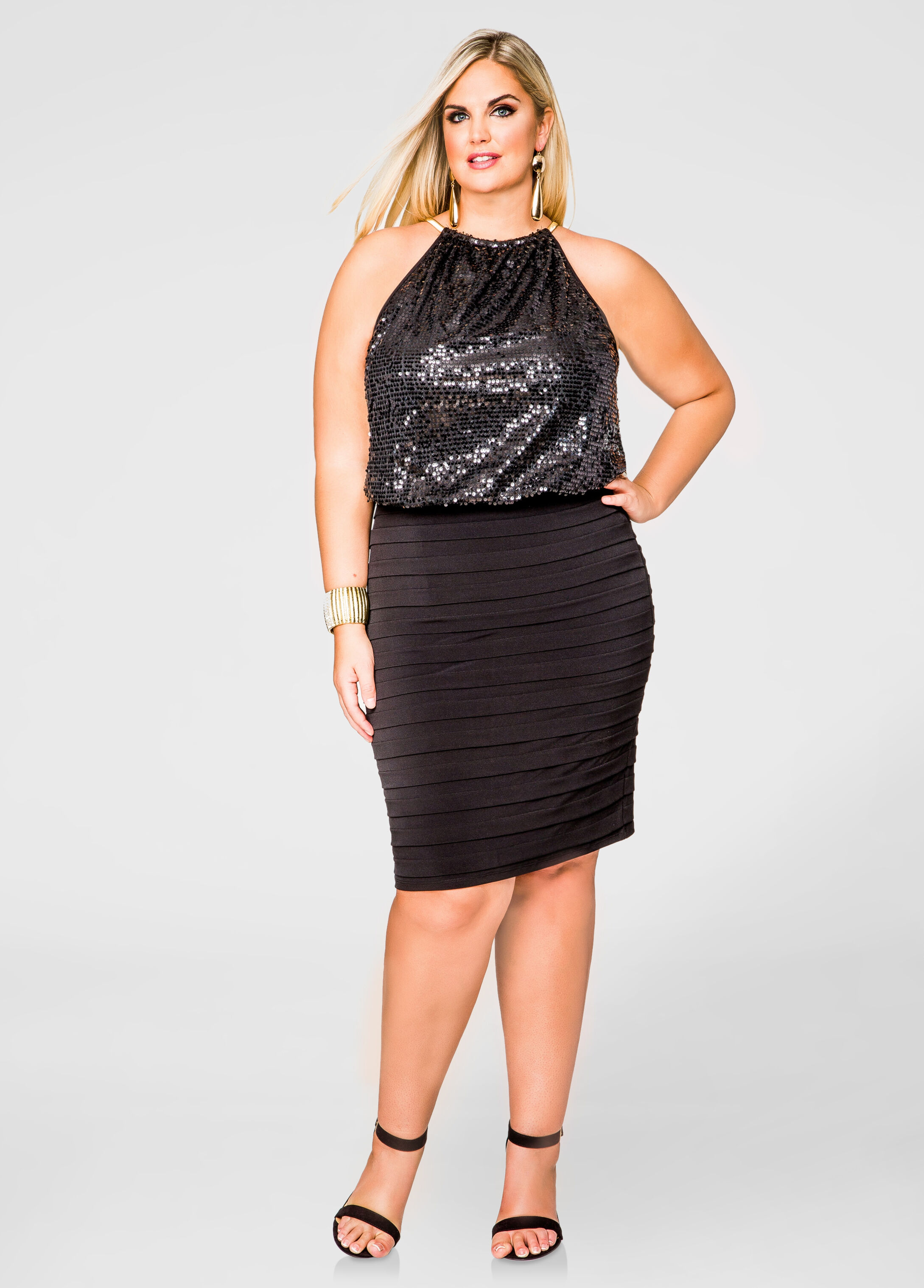 Blouson Sequin Halter Dress-Plus Size Dresses-Ashley Stewart