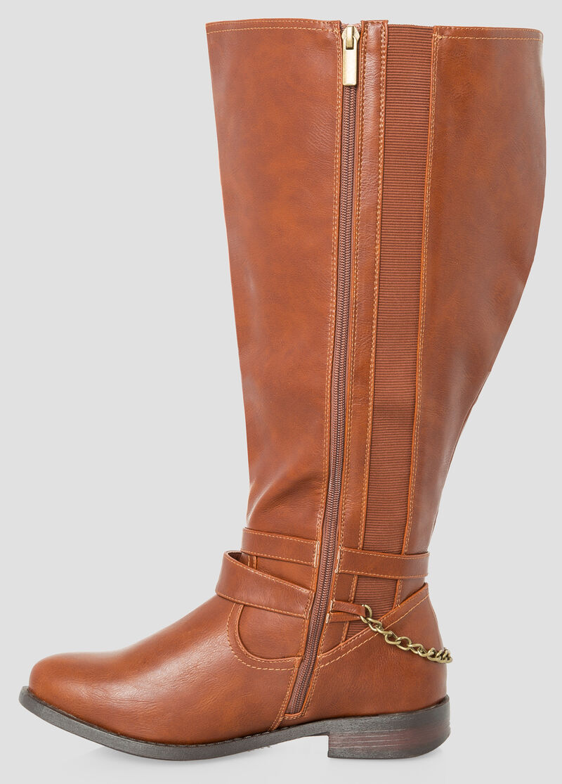 Plus Size Ankle Buckle Riding Boot - Extra Wide Calf 068-ASH22231WW