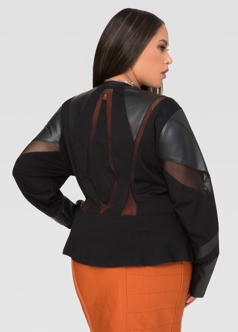 dbc01852612 Mesh Faux Leather Peplum Jacket Plus Size Jackets Ashley
