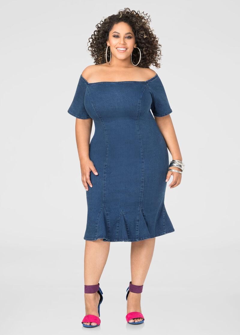 Off-Shoulder Jean Dress-Plus Size Dresses-Ashley Stewart-010-AS3001