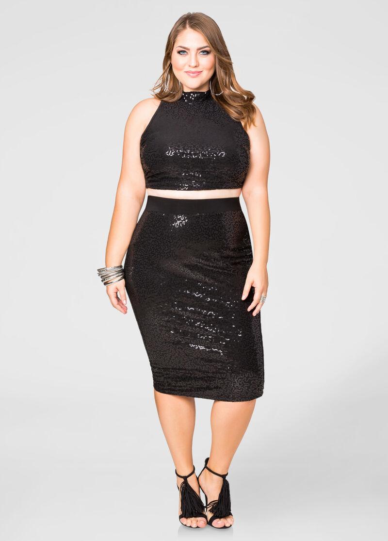 Sequin Pencil Skirt-Plus Size Skirts-Ashley Stewart