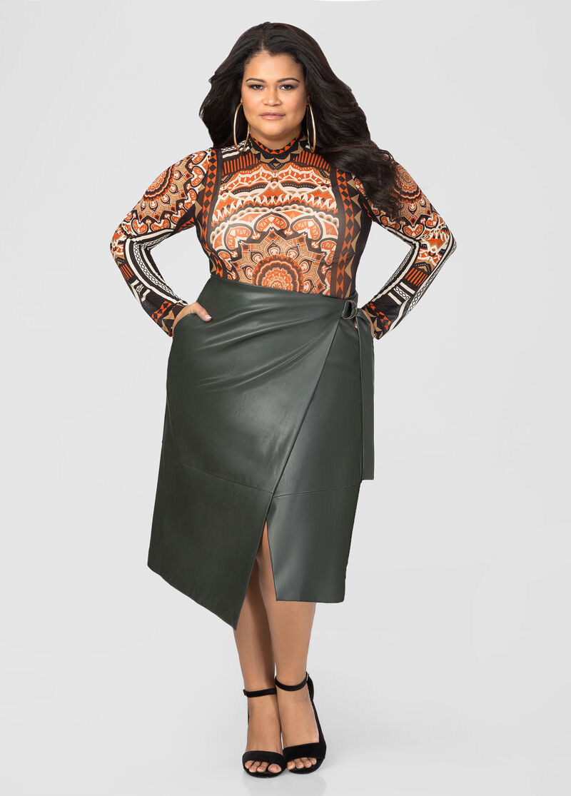 Wrap Front Faux Leather Skirt-Plus Size Sweaters-Ashley Stewart ...