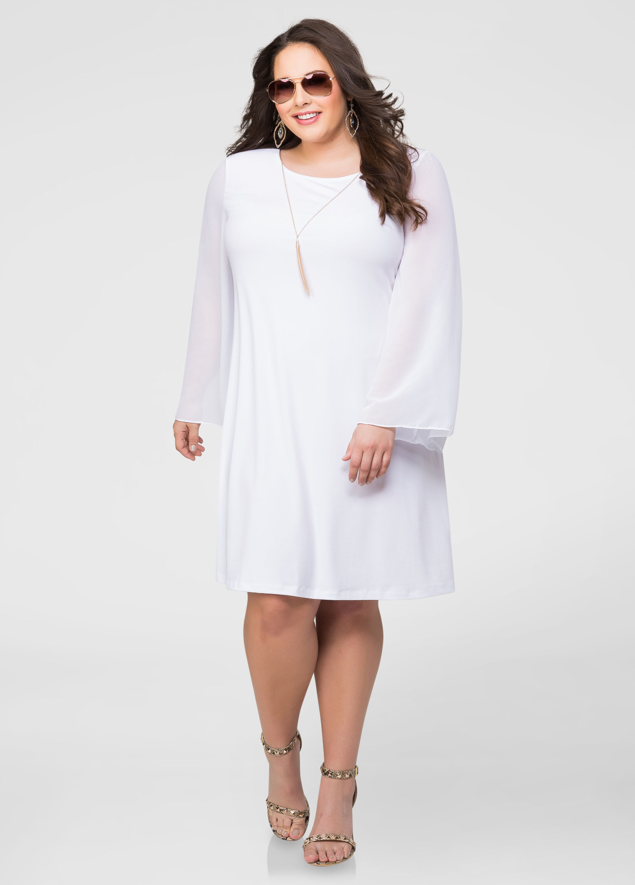 Bell Sleeve Necklace Dress-Plus Size Dresses-Ashley Stewart-010-451WS