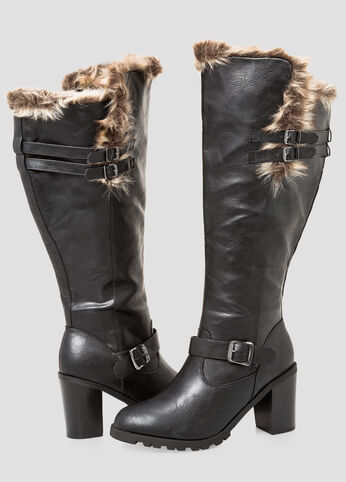 Chunky Fur Lined Tall Boot-Wide Calf Boots-Ashley Stewart-068-ASH23145