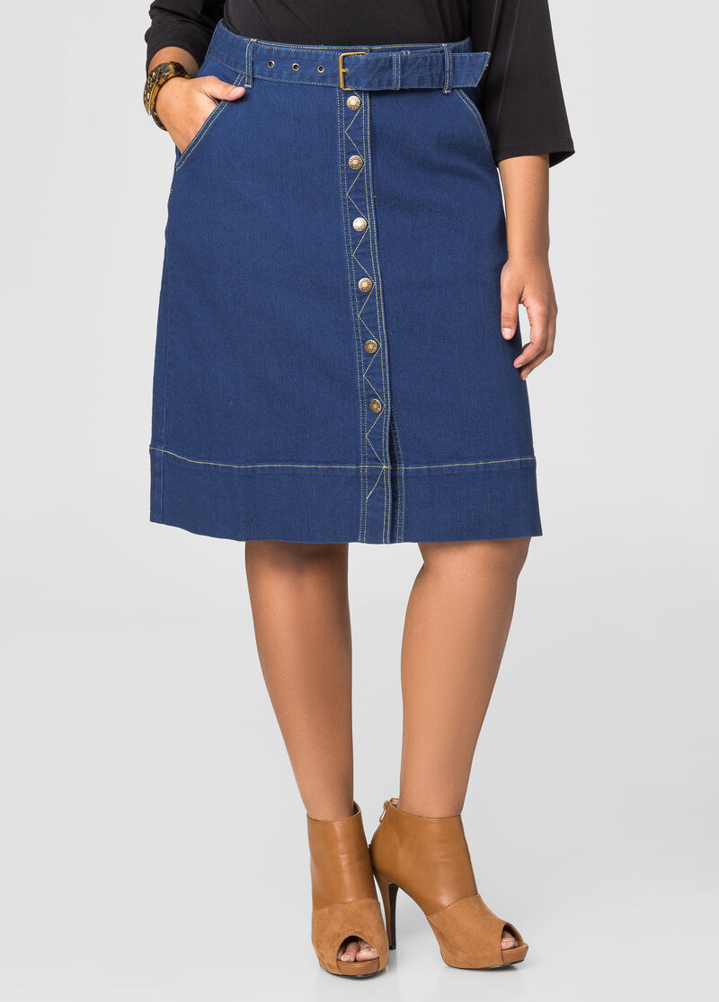 Button Front Jean Skirt-Plus Size Skirts-Ashley Stewart-034-SKA41667X