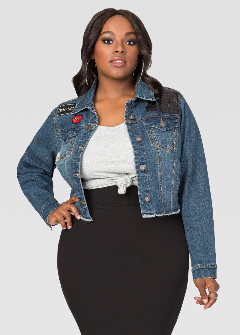 Appliqué Cropped Jean Jacket-Plus Size Jackets-Ashley Stewart-034 ...