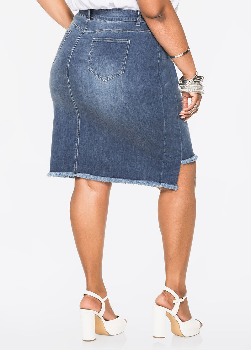 Plus Size Jeans & Denim - Deconstructed Jean Skirt