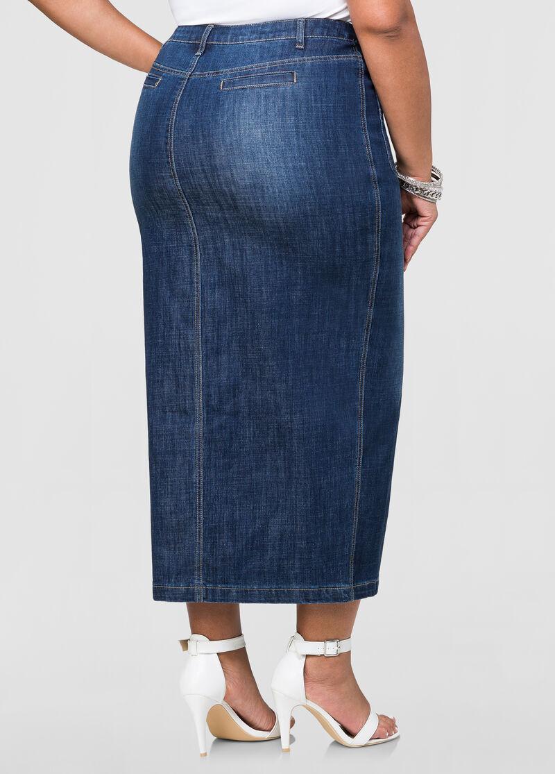 Front Slit Long Jean Skirt-Plus Size Maxi Skirts-Ashley Stewart ...