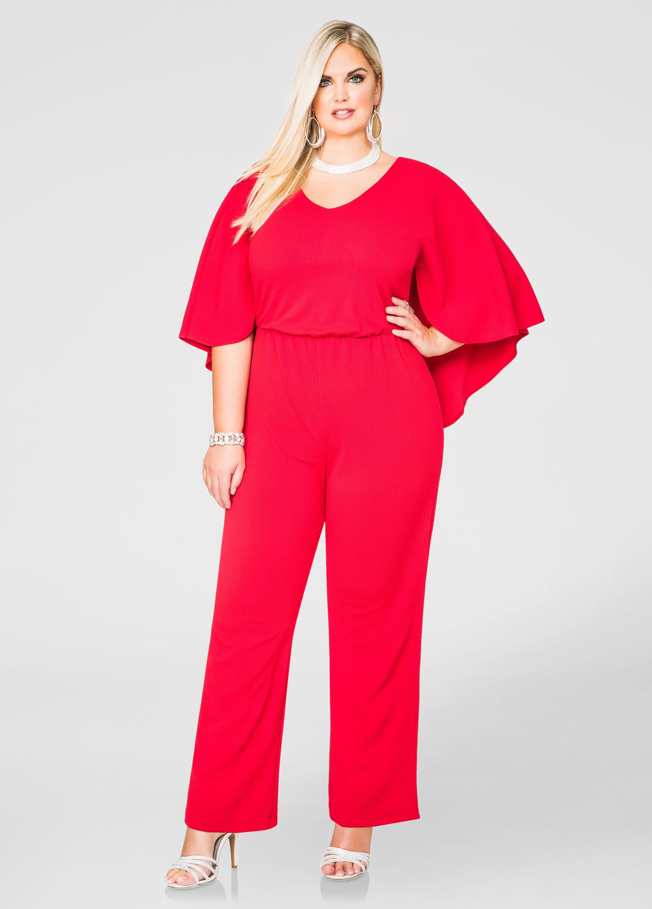Wide Leg Cape Jumpsuit-Plus Size Jumpsuits-Ashley Stewart