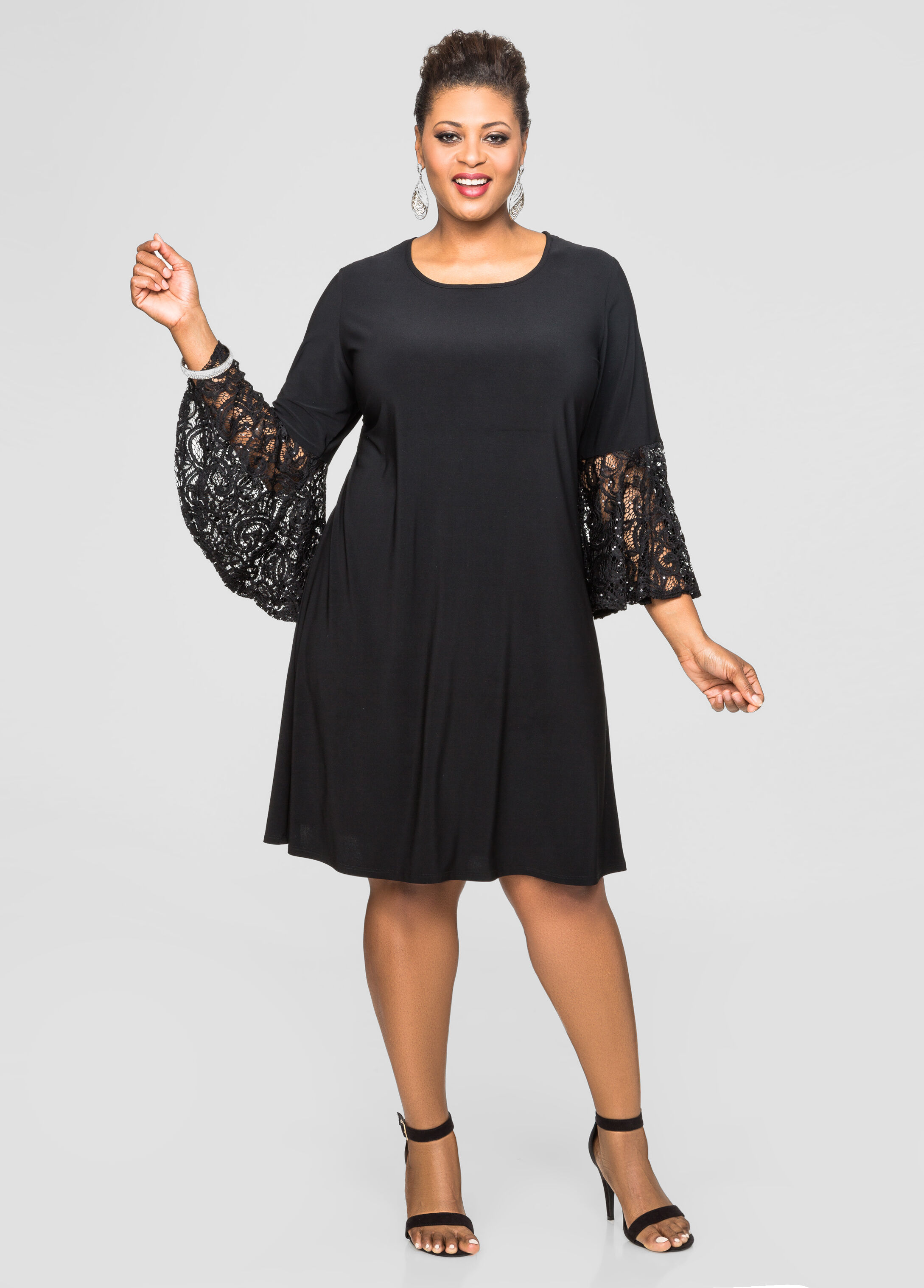 Plus Size Dresses - Sequin Bell Sleeve Dress - 010-8696WS