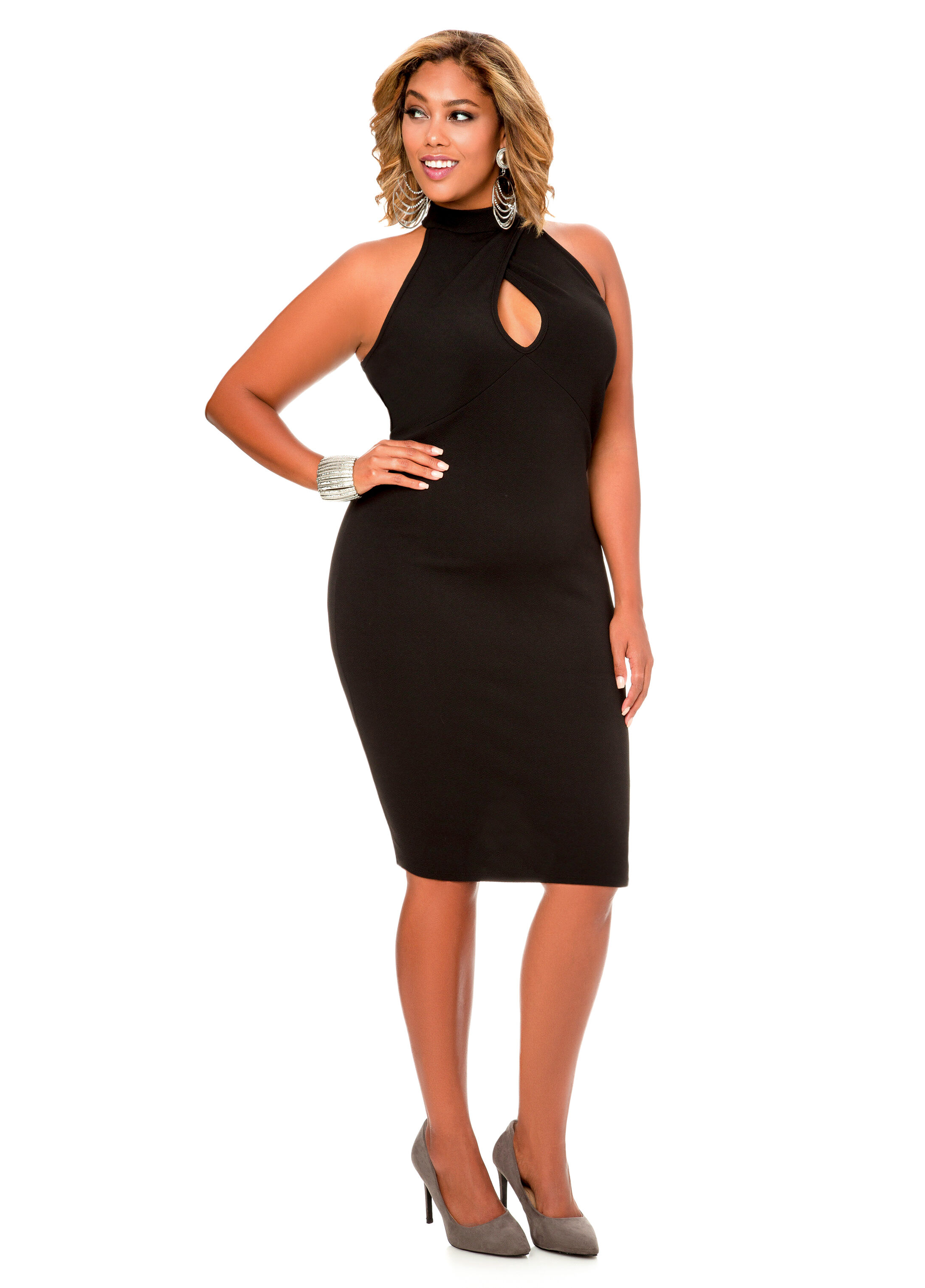 Textured Mock Neck Keyhole Dress-Plus Size Dresses-Ashley Stewart