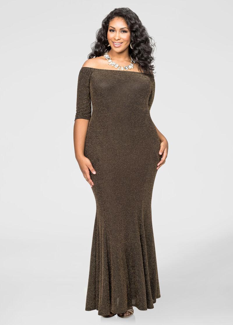 Slinky Glitter Mermaid Dress-Plus Size Special Occasion Dresses ...