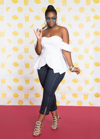 Plus Size Outfits - White Hot, White Top
