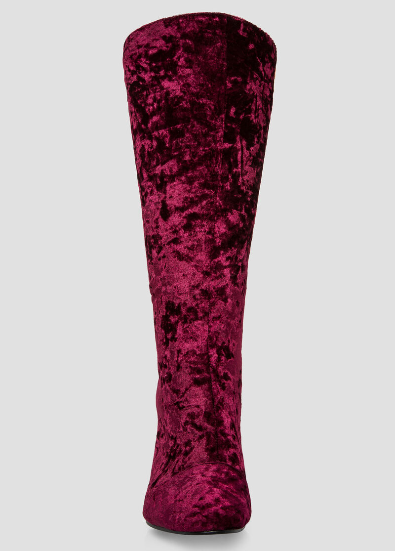Plus Size Velvet Lucite Knee High Boot - Wide Calf, Wide Width 068 ...