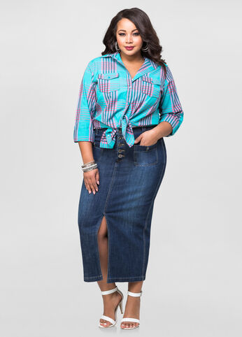 Front Slit Long Jean Skirt-Plus Size Maxi Skirts-Ashley Stewart ...