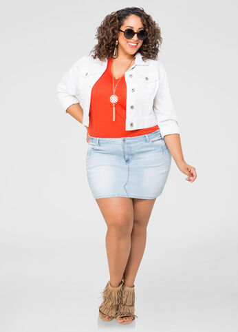 Denim Mini Skirt-Plus Size Jeans-Ashley Stewart-034-PA3523X
