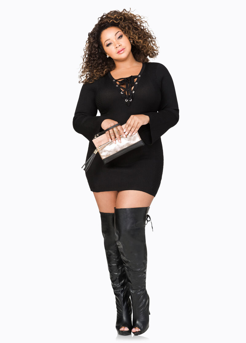 Lace-Up Over The Knee Boots-Wide Calf Boots-Ashley Stewart-068-ASH ...