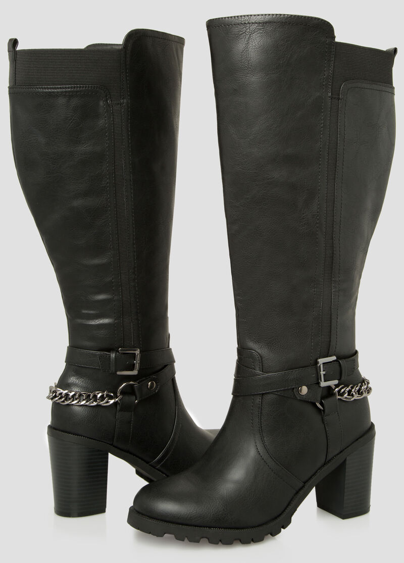 Plus Size Chain Knee High Boot - Wide Calf Wide Width 068-ASH23043X