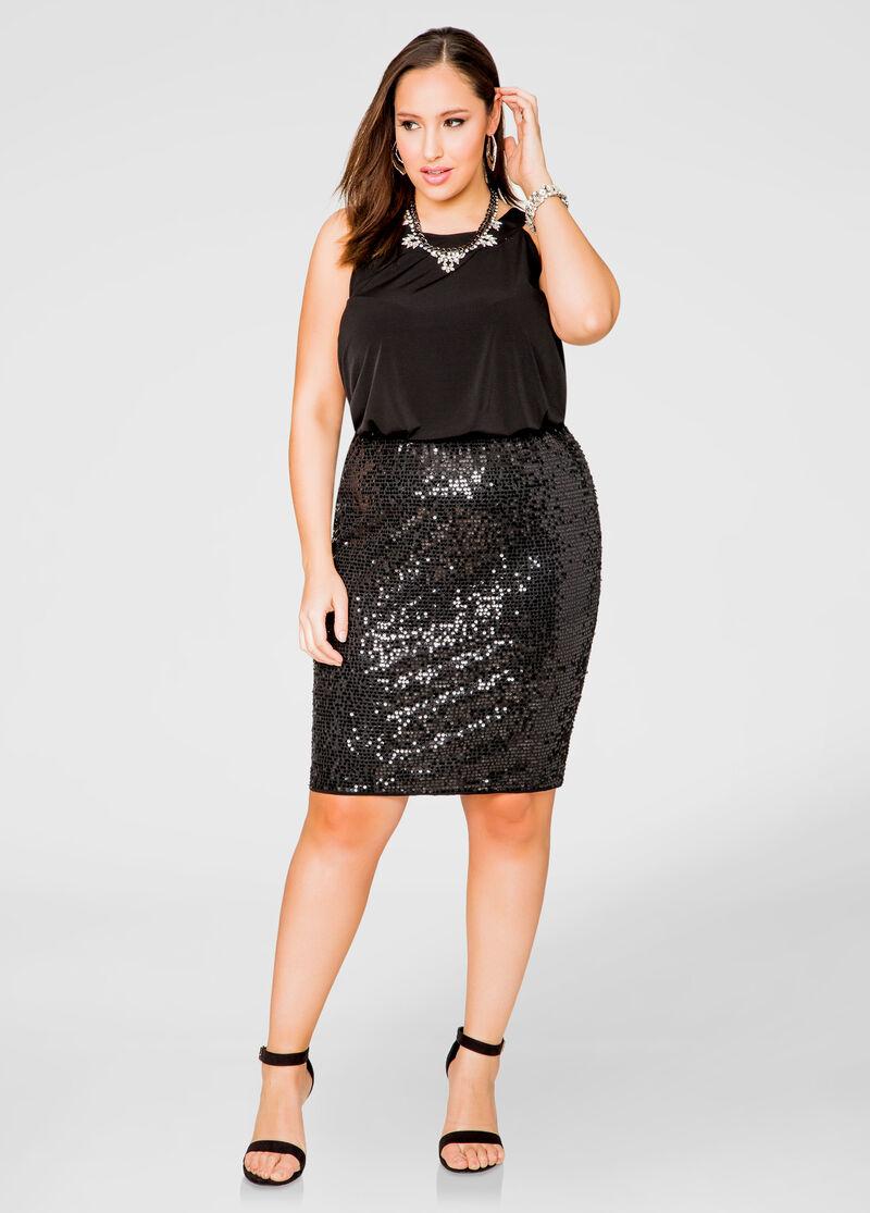 Blouson Top Sequin Skirt Dress-Plus Size Dresses-Ashley Stewart