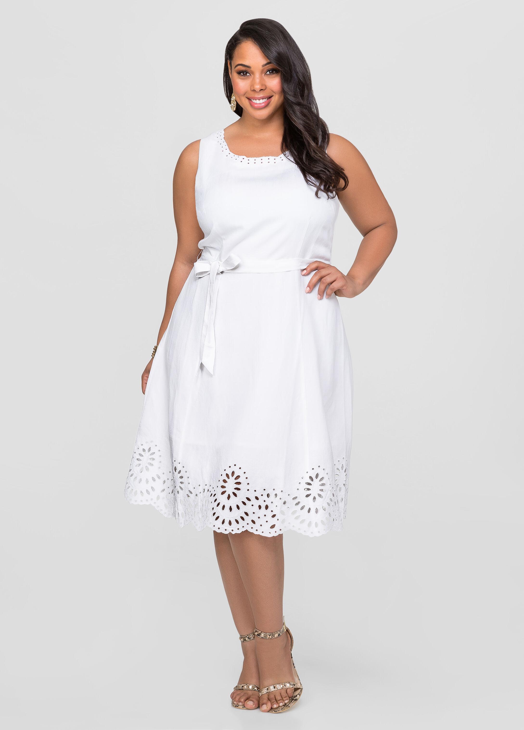 Linen Eyelet A-Line Dress-Plus Size Dresses-Ashley Stewart-010-553520A