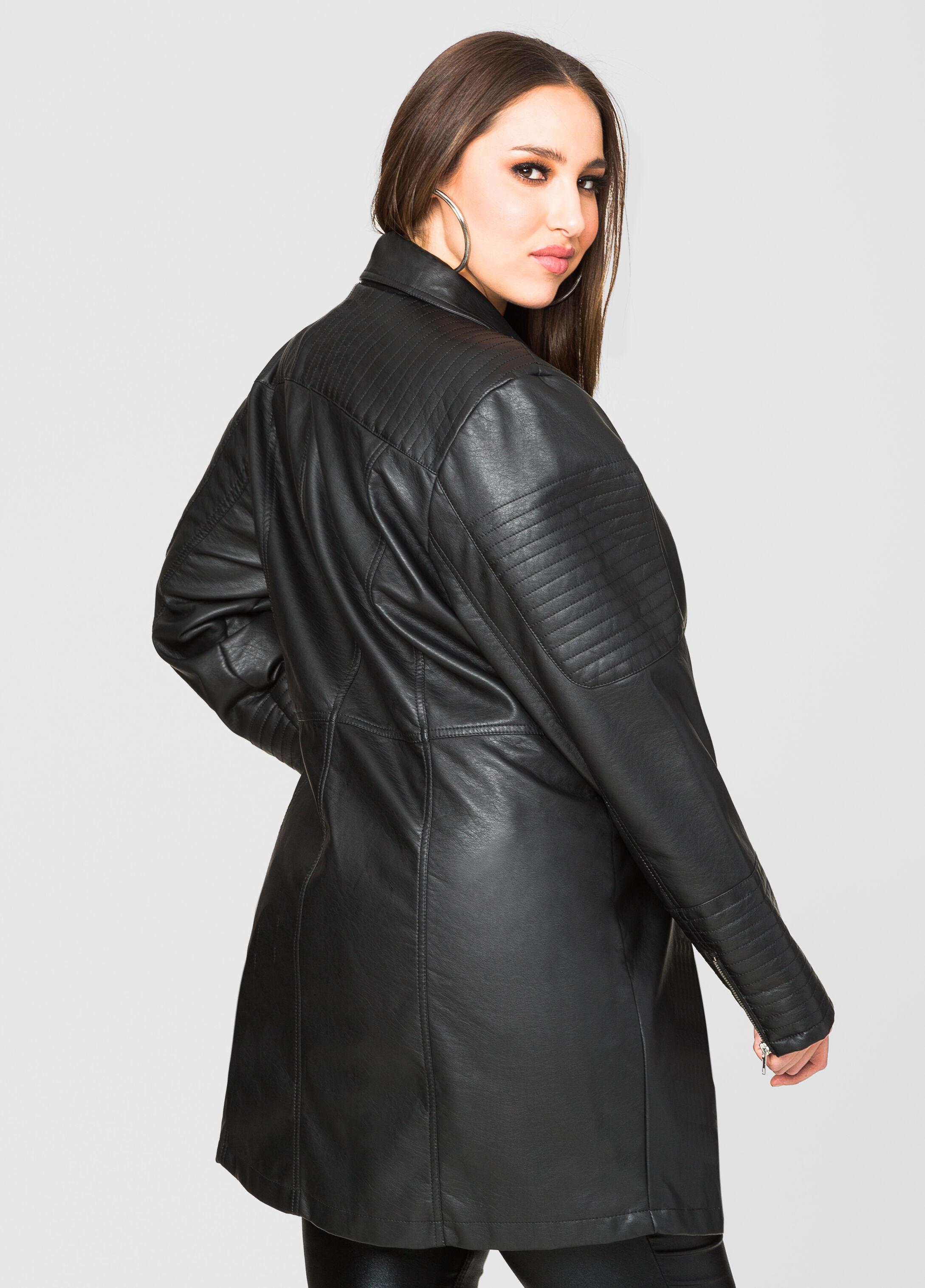 Long Faux Leather Moto Jacket-Plus Size Jackets-Ashley Stewart