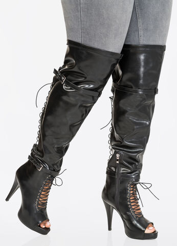Lace-Up Over The Knee Boot-Wide Calf Boots-Ashley Stewart-068-ASH-CO1