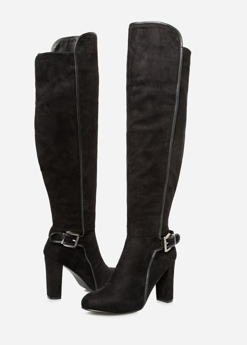 Plus Size Suede Knee High Boot - Wide Calf, Wide Width 068-ASH-S15