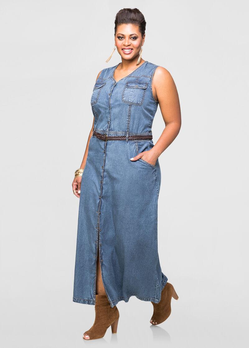Belted Jean Maxi Dress-Plus Size Dresses-Ashley Stewart-010-3712L