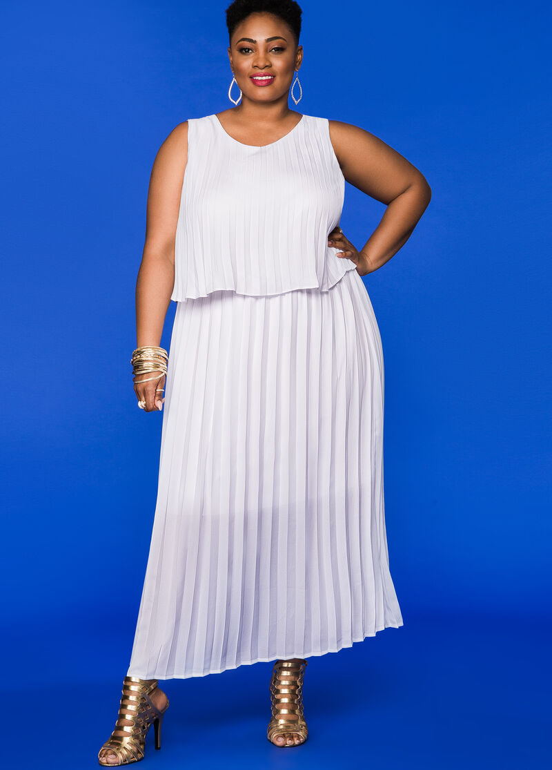 Plus Size Dresses - Pleated Tiered Maxi Dress