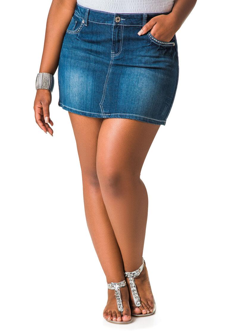 15-Inch Denim Mini Skirt-Plus Size Skirts-Ashley Stewart