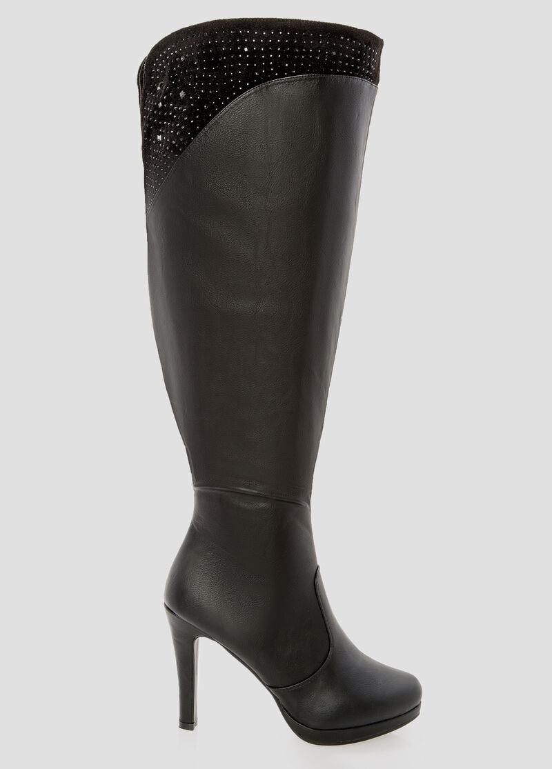 Wide Width Wide Calf Over The Knee Boot With Heel-Wide Width Boots ...
