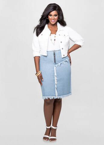 Frayed Midi Jean Skirt-Plus Size Skirts-Ashley Stewart-034-SKA41574X