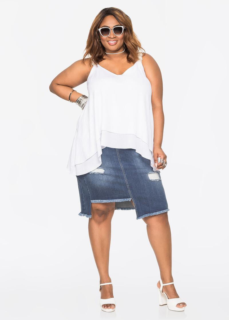 Plus Size Jeans & Denim - Deconstructed Jean Skirt