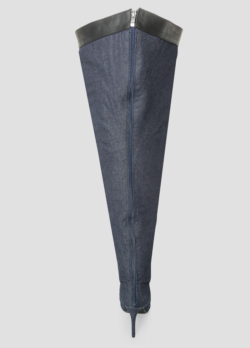 ad46a41808f Plus Size Denim Thigh High Boot - Wide Calf