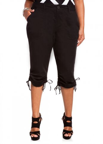 Poplin Shirred Capri Pant