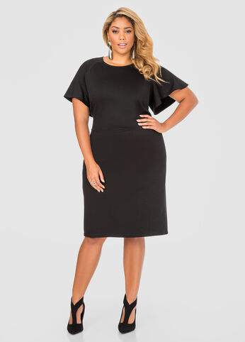 Plus Size Flutter Sleeve Tailored Dress 010-051W